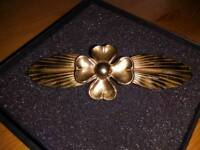 ANTIQUE, 1914 FIRST WORLD WAR, FOUR LEAF CLOVER BROOCH, IN COPPER, SIZE IS THREE INCHES