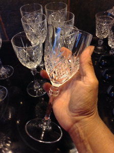 Crystal wine glasses, set of 6