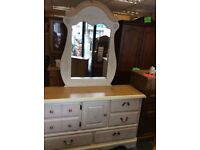 Huge American shabby chic style dresser with mirror 6 drawers 1 cupboard
