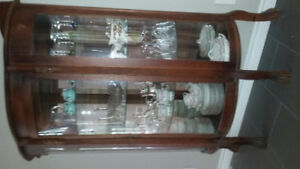 Curved glass China cabinet
