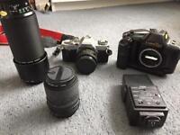 Canon SLR cameras, lenses, Slik tripod, accessories & bags