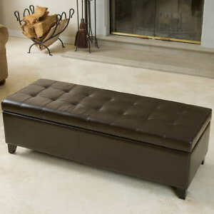 Brown Bonded Leather Storage Ottoman *NEW*
