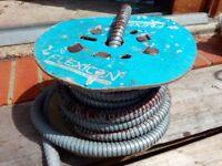 Flexicon metal flexible conduit for power/signal cables approx 10 metres length