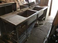 Commerical Sink, Display Fridge, Twin Gas Fryer