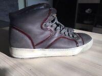 Luxurious Lanvin Hi Top burgundy mens calfskin sneakers, 43 / uk9, rrp £490