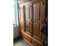 Large triple pine wardrobe dismantled