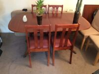 Mahogany Veneer Dining table with Leaf and 4 chairs