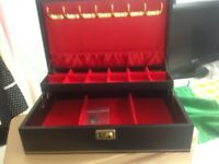 Leather look jewellery box with keys
