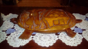 Exotic carved wood turtle
