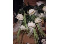 Lovely cream peony/large rose flowers with silver leaf and long stem grass