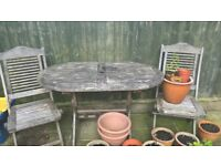 HARDWOOD GARDEN TABLE AND 2 CHAIRS GLUSBURN BD20 8DW, W.YORKS near KEIGHLEY SKIPTON ILKLEY SILSDEN