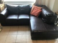 Brown quality leather corner sofa couch - Merseyside
