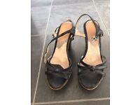 Dark Blue ankle strap high heel shoes size UK 3.5- 4 / EUR 36 - 36.5