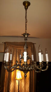 Reduced to Sell - Antique Brass Cherub 9 Candle Chandelier