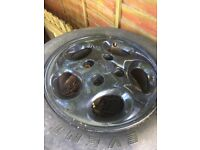 14'' black alloy wheels x4 with poor tyres