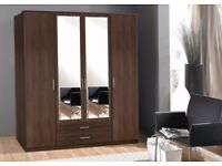 **100% PRICE MATCH!**BRAND NEW Omega 3 4 Door Wardrobe With Mirrors & Drawer-Same/Next Day Delivery