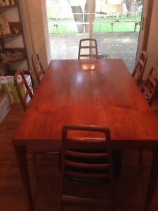 V & S  made in Denmark Teak Dinning table and chairs