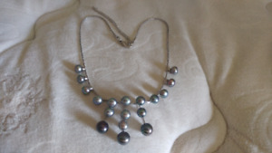 Black and Multi colored pearl necklace