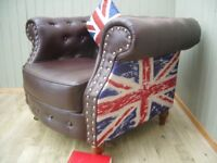 Stunning Union Jack Leather and Material Chesterfield Club Chair.