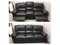 Brown leather 3/3 seater identical manual recliner sofas