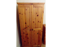 2 Quality Sturdy Solid Real Pine Wooden Double Wardrobes Child Kids Teenager Family Bedroom Landlord