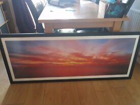 Large sunset framed print
