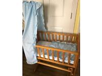 Rocker Crib and blue Crib set
