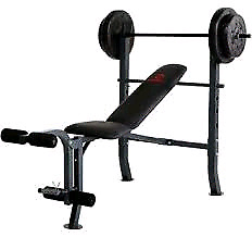 Bench press with bar, and weight.