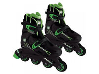 WIRED FLASH ADJUSTABLE INLINE SKATES BOOTS KIDS JUNIOR SIZE 13 - 3 BLACK & GREEN