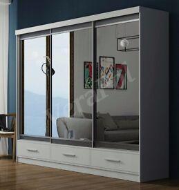 🔥💥203 OR 250cm💥Margo Wardrobe With 3 Drawers🔥 Brand New German Full Mirror Sliding Door Wardrobe