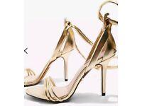 Brand new Topshop ROMONA ankle tie high heel sandals Gold