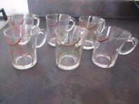 6 x Douwe Egberts Senseo Glass Coffee Mugs