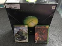 Original Xbox with halo and halo 2 retro gaming