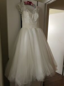 Alfred Sung Tea Length Ball Gown Wedding Dress