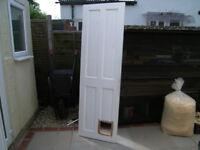 "White painted interior wooden door, 2ftx6'7"""