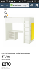 ikea high sleeper with desk wardrobe and shelfs.......excellent condition