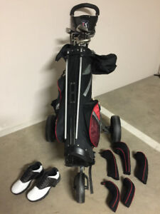 Titleist clubs -- left handed -- and bag, cart, balls, and Ts