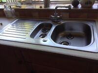 Kitchen sink one and half bowls plus tap
