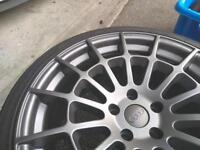 "Cast13 rb3 19"" 5x112 alloys 9.5j wide. New and tyres at 7mm deep dish gun-metal. Audi & cast13 caps"