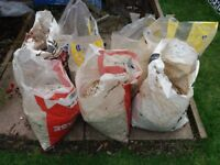 Kelkay White Decorative Aggregate/White Spar - Used. 7x approx 20kg bags