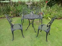 CAST ALUMINIUM GARDEN SET --TABLE AND 2 CHAIRS WITH BENCH --