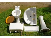Pedestal Sink and Toilet with Taps and Drain