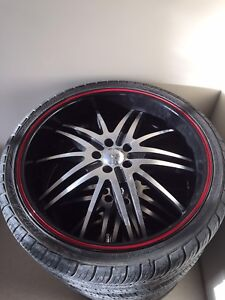"20"" Black Deep Dish Tire Package 5x100"