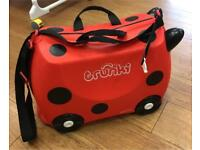 Trunki red ladybird pull along kids luggage