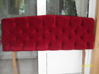 Bed Headboard.Wine coloured, plush,padded. size 4FT 6ins. very good condition.