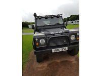 Landrover Defender 90, black, Long MOT,