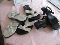 Lady's sandals size 6, three pairs