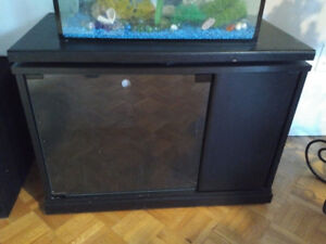 Dark Wood and Glass door Shelving Unit / TV stand