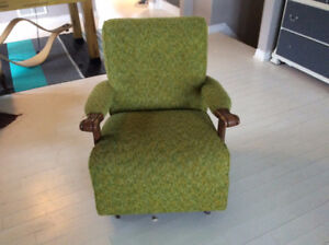 Vintage Green Wool Rocking Chair Retro