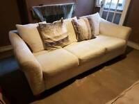 3 seater cream Sofa and foot stool